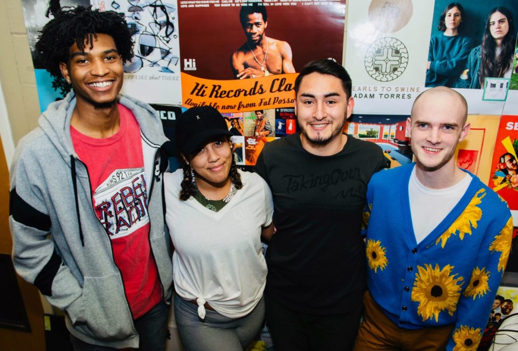 From Left to right, Chauncey Taylor, Music Director; DeAndria Turner, Station Manager; Jesus Escobedo, Marketing Director; Will Stribling, News Director