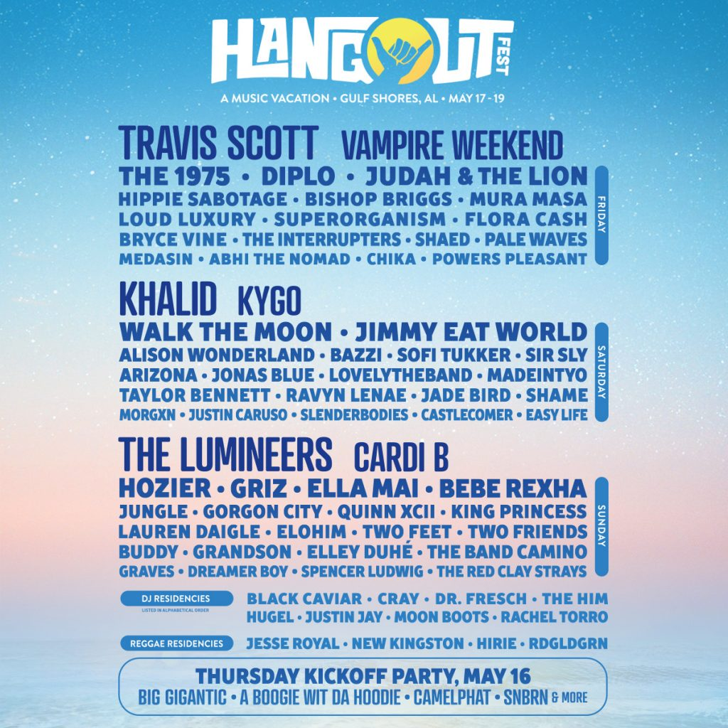 hangout lineup fest festival tickets rebel radio schedule dates buddy sabotage hippie band pages poster accommodations included only daigle lauren